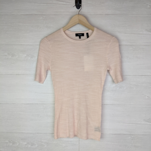 Theory Tops - NWT Theory Blush Pink Short Sleeve Fitted Wool Top